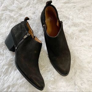 Franco Sarto black heel leather suede ankle boots